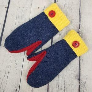 Knit button detail fleece lined mittens